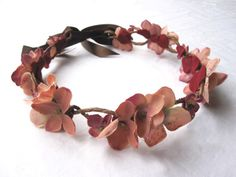 Floral Hair Wreath - Vintage Mauve Pink Blossom and Vine, Wedding Flower Crown, Pink Flower Crown, Fashion. $34.00, via Etsy.