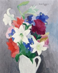 (France) Vase of flowers with lilies by Marie Laurencin oil on canvas. Flower Vases, Flower Art, Art Deco Paintings, Canvas Paintings, French Art, Botanical Prints, Female Art, New Art, Art Gallery