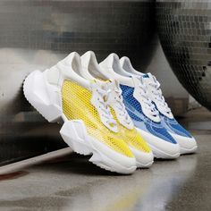 Chiko Aude Flatform Dad Sneakers feature round toe, lace up front, color block upper, flatform sneaker rubber sole. Dad Sneakers, Casual Sneakers, Sneakers Fashion, Sneakers Style, Nike Air Force, Fendi, Tweed, Versace, Flatform Sneakers
