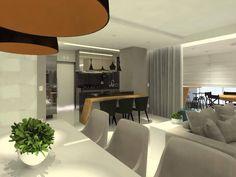 Neste projeto integramos a sala de estar, sala de TV e a cozinha. Para dar uma identidade única aos ambientes usamos a cor preta e a madeira peroba em todos os espaços.