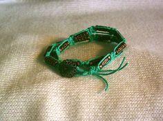 "Free shipping. Hippie, boho style aqua hemp and copper bead macrame double wrap bracelet or choker. 14"" by BohoChicByDenise #jewelry"