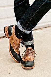Bostonians Black & Tan Leather Brogues