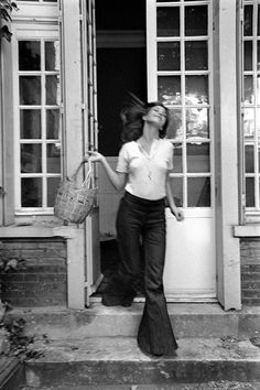 Jane Birkin in the perfect white tee and flares