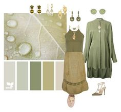 """""""#Mimicry: Leaf"""" by wendycecille ❤ liked on Polyvore featuring Chalayan, Valentino, Jack Rogers, Annoushka, Oliver Peoples, Jennifer Meyer Jewelry, Frederic Sage, Ann Taylor and CVC Stones"""