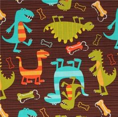 Michael Miller flannel fabric Dino Dudes cute dinosaur  cute brown fabric with funny dinosaurs from the USA