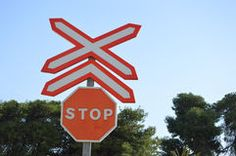 A Rail Crossing Stop Sign On Spanish Railway Lines Stock Photography Page 3, Commercial Design, Royalty Free Photos, Spanish, Signs, Pictures, Photography, Image, Art