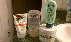 another pinner said: Once a week, scrub with St. Ives Green tea facial cleaner . pat my face dry then generously apply St.Ives cucumber peel off mask. Apply St. Ives clay mask, but don't get this one too thick, will take forever to dry. Use a hot washcloth to rinse, leaving on face till cool. Once cool, use the cloth to gently circle away the clay mask. Finish with your favorite moisturizer.