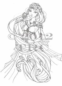 items similar to long haired princess printable pdf coloring page on etsy - Coloring Pages Anime Princesses
