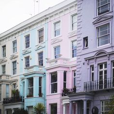 Pastel colored houses in Notting Hill by songofstyle London Manchester, Aimee Song, Song Of Style, London Calling, British Isles, Color Inspiration, The Row, Europe, Exterior