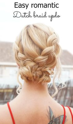 Easy romantic dutch braid updo for Valentine's day. See tutorial at https://hairsaffairs.com/3-easy-hairstyles-valentines-day