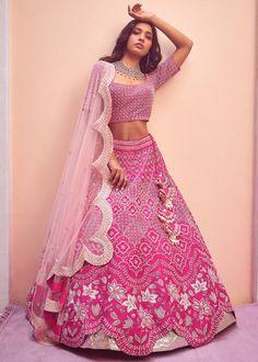 Indian Bridesmaid Dresses, Indian Wedding Outfits, Indian Outfits, Indian Clothes, Wedding Dress, Lengha Choli Designer, Indian Designer Sarees, Raw Silk Lehenga, Pink Lehenga
