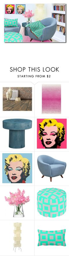 """""""Turquoise and Gray Accents"""" by fallforit ❤ liked on Polyvore featuring interior, interiors, interior design, home, home decor, interior decorating, nuLOOM, CB2, Andy Warhol and LSA International"""