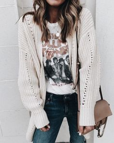 Cute off white cardigan over tee and jeans.