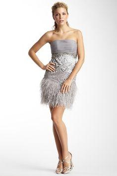 Strapless Feather Fringe Short Dress