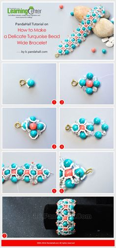 PandaHall Tutorial on How to Make a Delicate Turquoise Bead Wide Bracelet from LC.Pandahall.com