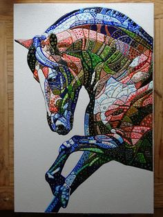 Abstract Horse painting on deep edge canvas. Glossy EVA (plastic/resin) with a sculptural quality. Unique piece of modern contemporary art. Contemporary Abstract Art, Modern Art, Abstract Horse Painting, Abstract Animal Art, Horse Quilt, Bird Artwork, Horse Art, Hanging Art, Mosaic Art