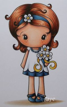 Find information about my Copic Classes here. Cute Girl Drawing, Cute Drawings, Cute Images, Cute Pictures, Cute Cartoon Girl, Illustration Girl, Girl Illustrations, Digi Stamps, Copics