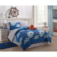 Boys Kids Bedding - Reversible Squid Bed in a Bag Comforter & Sheet Set