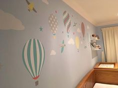 Enchanted Interiors Premium Self Adhesive Fabric Nursery Wall Art Decals  Hot Air Balloons and Jets in Coral, Turquoise, Yellow and Grey