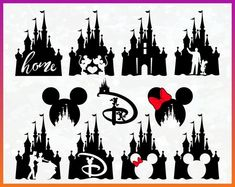 disney castle mickey minnie mouse*** ***fabric/t-shirt iron Disney Diy, Art Disney, Disney Crafts, Disneyland Trip, Disney Trips, Disney Castle Outline, Disney Castle Tattoo, Silhouettes Disney, Best Disney Animated Movies