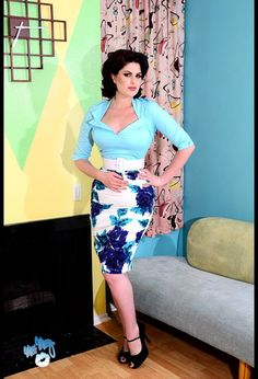 Pinup Couture Blue Floral Pencil Skirt | Pinup Girl Clothing