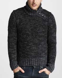 Dolce & Gabbana Chunky Button-Neck Sweater