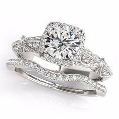 Forever One Moissanite Solid 14K White Gold Diamond Engagement Ring Set, Certified Bridal Set- OV61985