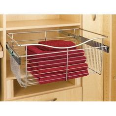 Buy the Rev-A-Shelf Satin Nickel Direct. Shop for the Rev-A-Shelf Satin Nickel CB Series 24 x 14 x 11 Inch Wire Pull-Out Closet Basket and save. Basket Drawers, Drawers, Shelves, Cabinets Organization, Rev A Shelf, Closet System, A Shelf, Storage, Deep Closet