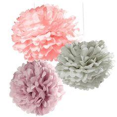 Pom poms - Rosa, lila, grå (3-pack)