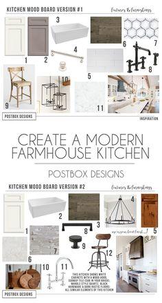 Postbox Designs Interior E-Design: Farmhouse Kitchen Mood Board, Fixer Upper Style Kitchen Design