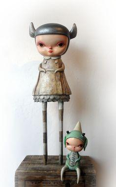 "I love ALL Lizzie's/ Elizabeths.   Phantom Lizzie and Calliope Green by Kathie Olivas. Oil, acrylic on epoxy resin, fiberglass, wood, 30"" tall"