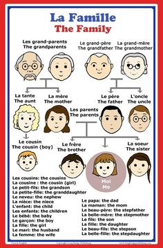 Amazon.com: French Language School Poster: French words about family members with English translation - classroom chart: Other Products: Posters & Prints
