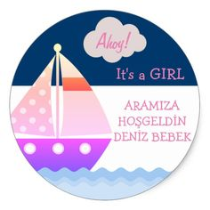 Red and Blue Sailboat Baby Stickers