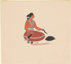 "Andrew Tsinajinnie, ""Navajo Woman Spinning Wool,"" c. gouache on wove paper Native American Heritage Month, Native American Art, American Indians, Navajo Women, Spinning Wool, National Gallery Of Art, Art Object, Gouache, Art Museum"