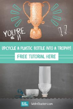 How to Make a Trophy by Recycling a Plastic Bottle. We found a great way to encourage upcycling in your classroom, and a way to use this amazing DIY trophy as a special incentive in your classroom. Recycled Decor, Upcycled Crafts, Recycled Furniture, Handmade Furniture, Homemade Trophies, Easy Projects, Craft Projects, Craft Ideas, Diy Trophy