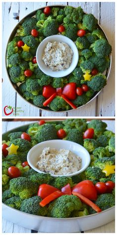 Bring something healthy to your next holiday party, like this broccoli veggie tray with dip.