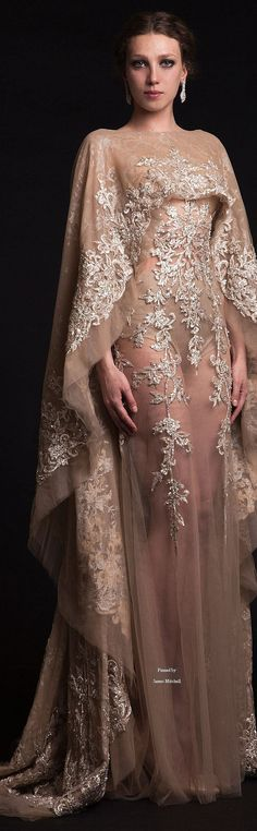 Krikor Jabotian ~ Summer Silver Embroidered Sheer Sand Gown 2015
