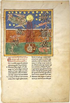 centuriespast:  Leaf from a Beatus Manuscript: at the Clarion of the Fifth Angel's Trumpet, a Star Falls from the Sky; the Bottomless Pit is...