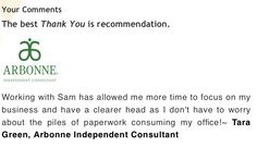 Thank you from one our clients, Tara Green, who is an Arbonne Independent Consultant.