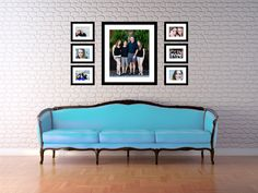Interesting Photo Display Ideas You Have to Try Family Pictures On Wall, Family Photos, Picture Wall, Photo Wall, Blue Leather Sofa, Wall Groupings, Photo Displays, White Walls, Wooden Frames