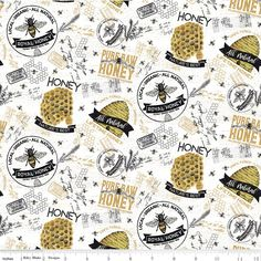 Bee's Life Main Fabric, C10100-PARCHMENT, Honey Bee Themed Quilting Cotton Apparel Fabric, Riley Blake, 1 Yard Cut Bty by Jambearies on Etsy