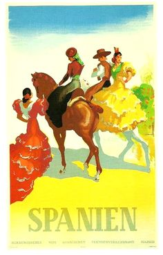 SPAIN / Cities, towns, landscapes / Turismo . Carteles. . Vintage travel poster.
