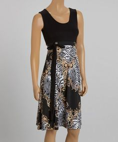 Look what I found on #zulily! Black & Gold Tie-Waist Sleeveless Dress #zulilyfinds $26.99