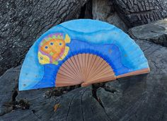 Unique cotton and wood hand painted handfan. Beautiful accessory as a piece of art. by MonBrise on Etsy