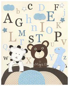 Baby boy room Nursery print Baby Giraffe lion baby by DesignByMaya
