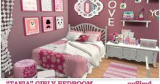 Tania Girly Bedroom at Sims 4 Loft, Cool Beds For Teens, Sims 4 Beds, Sims 4 Anime, Muebles Sims 4 Cc, The Sims 4 Packs, Sims 4 Bedroom, Sims 4 Children, Sims 4 Toddler