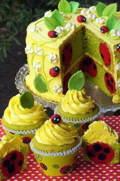 Ladybug Cake - call me crazy, but seeing a ladybug always makes me smile :) They are like Daisies and baby's breath...they are so cheerful.... - Adore Ladybugs, I do....This cake is brilliant...so precious!