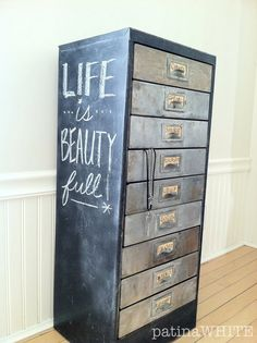 Revamped filing cabinet painted and stencilled in Annie Sloan ...