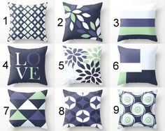 Throw Pillow Covers Accent Pillow Covers Navy by HLBhomedesigns