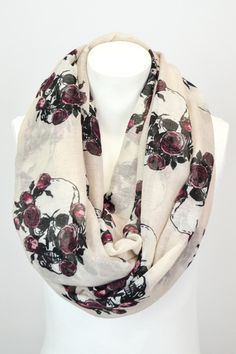 Skull & Roses Infinity Scarf- $16.00 Free Shipping!